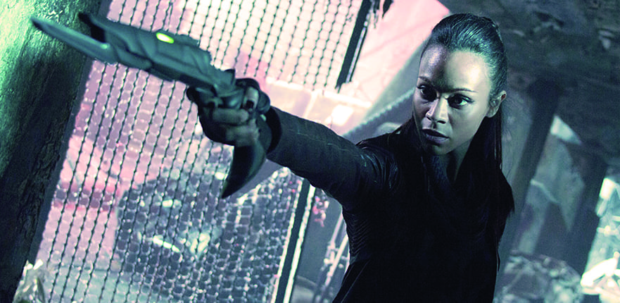 Zoe Saldana as Lt. Uhura in Star Trek Into Darkness