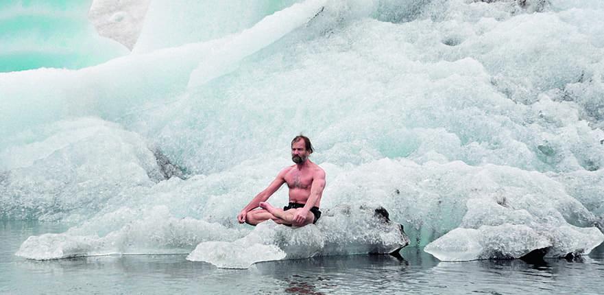Wim Hof meditating on an ice rock