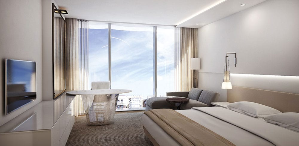 Floor-to-ceiling windows let the light into the hotel's suites