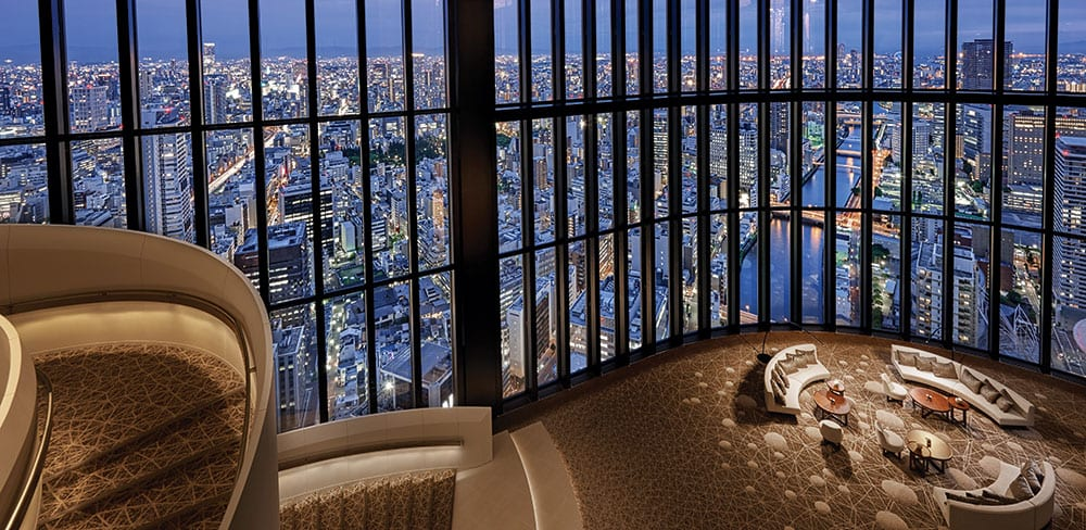 Wraparound views from Conrad Osaka's wide atrium