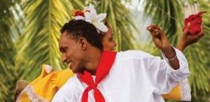 Cumbia folk dancers in traditional dress