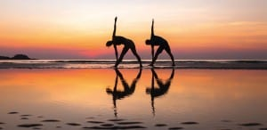 Sunset yoga on Fort Lauderdale Beach in Florida