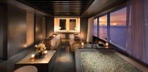 Sea views from the soaking tub at Conrad Manila's treatment rooms