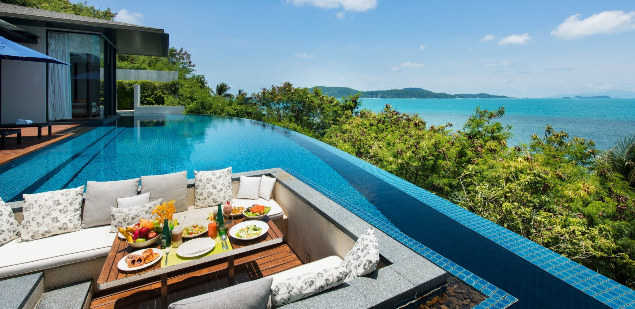 Pool breakfast at Conrad Koh Samui