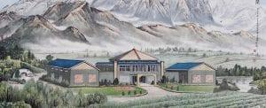 Chinese Ink Painting of Helan Qingxue Vineyard